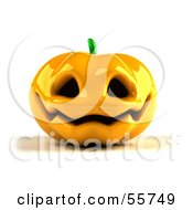 Royalty Free RF Clipart Illustration Of A Shiny 3d Ceramic Halloween Pumpkin Version 2