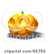 Royalty Free RF Clipart Illustration Of A Smiling 3d Halloween Pumpkin Version 4