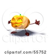 Royalty Free RF Clipart Illustration Of A 3d Pumpkin Character Holding His Arms Open Version 2