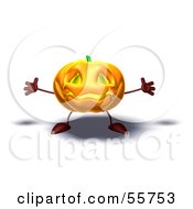 Royalty Free RF Clipart Illustration Of A 3d Pumpkin Character Holding His Arms Open Version 1 by Julos