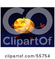 Royalty Free RF Clipart Illustration Of A 3d Pumpkin Character Holding His Arms Open Version 4