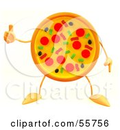 Royalty Free RF Clipart Illustration Of A 3d Pizza Pie Character Giving The Thumbs Up Version 3