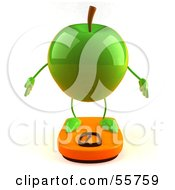 3d Green Apple Character Standing On A Scale Version 1 by Julos