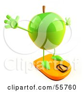 3d Green Apple Character Standing On A Scale Version 4 by Julos