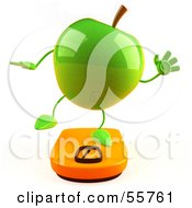 3d Green Apple Character Standing On A Scale Version 3 by Julos
