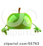 3d Green Apple Character Pointing To And Standing Behind A Blank Sign by Julos