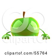 3d Green Apple Character Standing Behind A Blank Sign by Julos