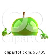 3d Green Apple Character Giving The Thumbs Up And Standing Behind A Blank Sign by Julos