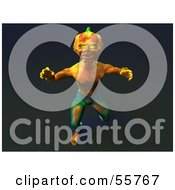 Royalty Free RF Clipart Illustration Of A 3d Pumpkin Monster Lunging Forward Version 2