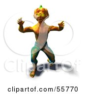 Royalty Free RF Clipart Illustration Of A 3d Pumpkin Monster Lunging Forward Version 3