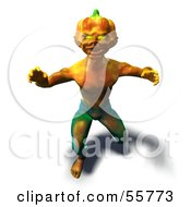 Royalty Free RF Clipart Illustration Of A 3d Pumpkin Monster Lunging Forward Version 4