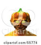 Royalty Free RF Clipart Illustration Of A 3d Pumpkin Monster Facing Front Version 1 by Julos