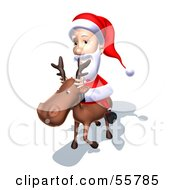 Royalty Free RF Clipart Illustration Of A 3d Santa Character Riding A Reindeer Version 6