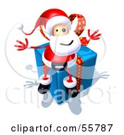 Royalty Free RF Clipart Illustration Of A 3d Santa Character Sitting On A Blue Present Version 3