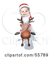 Royalty Free RF Clipart Illustration Of A 3d Santa Character Riding A Reindeer Version 5