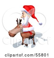 Royalty Free RF Clipart Illustration Of A 3d Santa Character Riding A Reindeer Version 7