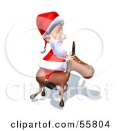 Royalty Free RF Clipart Illustration Of A 3d Santa Character Riding A Reindeer Version 8