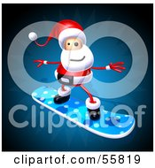 Royalty Free RF Clipart Illustration Of A 3d Santa Character Snowboarding Version 1 by Julos