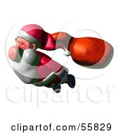 Royalty Free RF Clipart Illustration Of A 3d Clay Styled Santa Character Flying Version 3