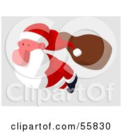 Royalty Free RF Clipart Illustration Of A Cartoon Styled Santa Character Flying Version 3
