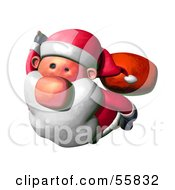 Royalty Free RF Clipart Illustration Of A 3d Clay Styled Santa Character Flying Version 2