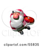Royalty Free RF Clipart Illustration Of A 3d Clay Styled Santa Character Flying Version 1