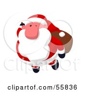 Royalty Free RF Clipart Illustration Of A Cartoon Styled Santa Character Flying Version 1