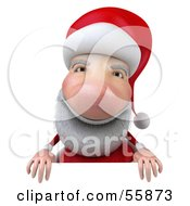 Royalty Free RF Clipart Illustration Of A 3d Santa Character Standing Behind A Blank Sign by Julos