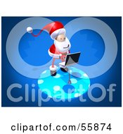 Royalty Free RF Clipart Illustration Of A 3d Santa Character Using A Laptop Version 3