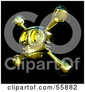 Royalty Free RF Clipart Illustration Of A Golden Skull With Crossbones Version 3