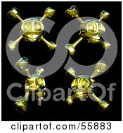 Royalty Free RF Clipart Illustration Of A Digital Collage Of Four Golden Skulls With Crossbones