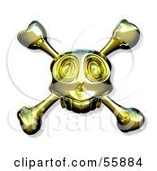 Royalty Free RF Clipart Illustration Of A Golden Skull With Crossbones Version 1