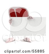 3d Steak Character Holding A Blank Business Card - Version 1
