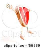 Royalty Free RF Clipart Illustration Of A 3d Steak Character Jumping Version 4