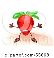 3d Strawberry Character Holding His Arms Open - Version 1