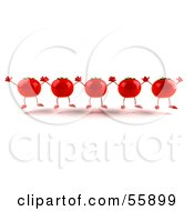 Royalty Free RF Clipart Illustration Of 3d Red Tomato Characters Holding Their Arms Up by Julos