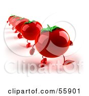 3d Red Tomato Characters Marching Forward by Julos