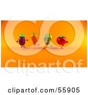 Royalty Free RF Clipart Illustration Of 3d Tomato Bell Pepper Carrot And Eggplant Characters Marching Right Version 2