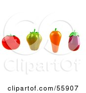 3d Tomato Green Bell Pepper Carrot And Eggplant Veggies - Version 1