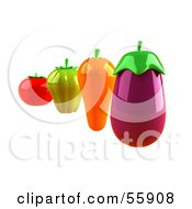 3d Tomato Green Bell Pepper Carrot And Eggplant Veggies Version 2 by Julos