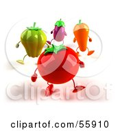 3d Tomato Bell Pepper Carrot And Eggplant Characters Marching - Version 3