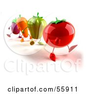 3d Tomato Bell Pepper Carrot And Eggplant Characters Marching Version 1 by Julos