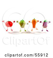 3d Tomato Bell Pepper Carrot And Eggplant Characters Jumping - Version 1