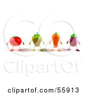 3d Tomato Bell Pepper Carrot And Eggplant Characters Facing Front Version 1 by Julos