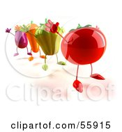 3d Tomato Bell Pepper Carrot And Eggplant Characters Jumping Version 2 by Julos