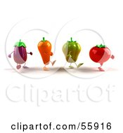 3d Tomato Bell Pepper Carrot And Eggplant Characters Marching Right - Version 1