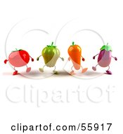 3d Tomato Bell Pepper Carrot And Eggplant Characters Marching - Version 4