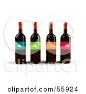 Royalty Free RF Clipart Illustration Of A Row Of 3d Wine Bottles With Colorful Labels Version 4 by Julos