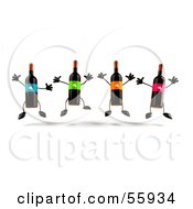 Royalty Free RF Clipart Illustration Of A Row Of 3d Wine Bottle Characters Jumping by Julos
