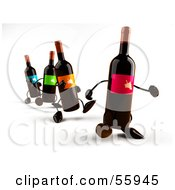 Royalty Free RF Clipart Illustration Of A Row Of 3d Wine Bottle Characters Walking Forward Version 1